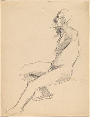Side View of Seated Nude Facing Left