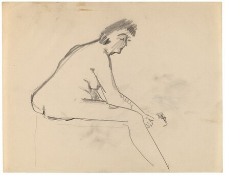 Side View of Seated Female Nude Turned to the Right, Leaning Forward