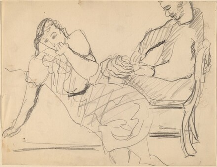 Seated Woman Leaning to Left, Man in Chair behind Her