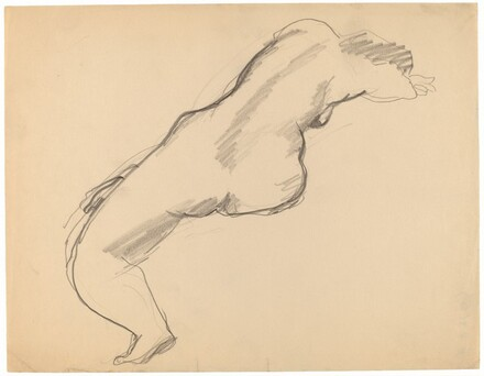 Seated Female Nude Seen from Behind, Leaning Right with Head Resting in Arms