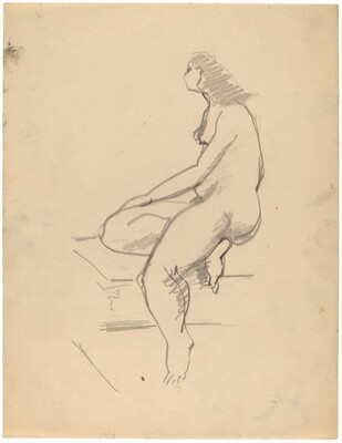 Side View of Seated Nude Turned to the Left, Right Leg Tucked Under