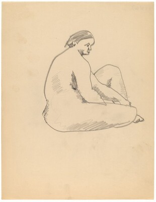 Female Nude Seated on the Ground, Facing Right