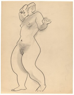 Standing Female Nude Turned to the Left, Arms Raised, Head Lowered