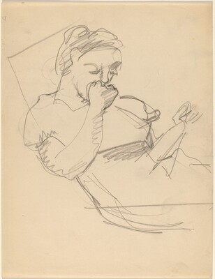 Woman Reading, Right Hand Covering Mouth