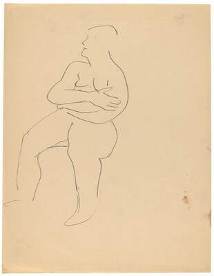 Seated Nude Turned to the Left, Arms Crossed