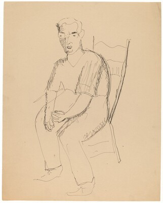 Seated Man Wearing Eyeglasses
