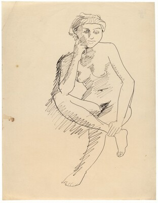 Seated Female Nude Supporting Head, Right Leg Resting on Left