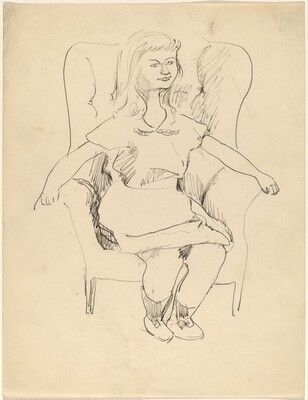 Young Girl Seated Erectly in Wing Chair