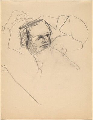 Half-Length Study of a Woman, Arms Raised to Head