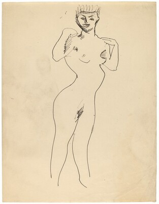 Standing Female Nude, Hands Raised to Shoulders