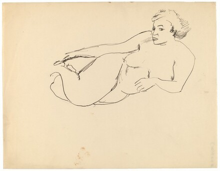 Reclining Female Nude, Resting on Left Elbow, Head in Three-quarters Profile