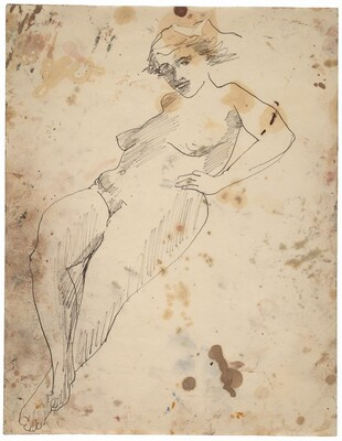 Seated Nude Leaning Back and to the Right, Left Hand on Hip, Ankles Crossed