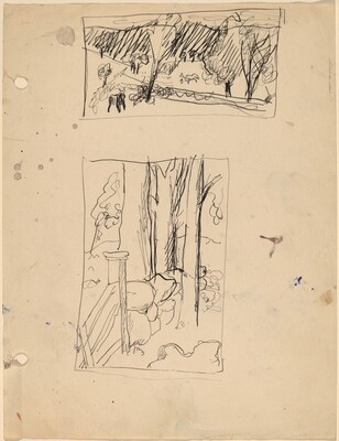 Sheet with Two Landscape Sketches