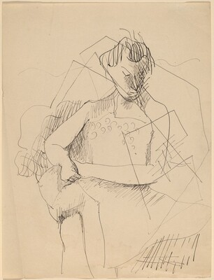 Study of Seated Woman with Cubist Design