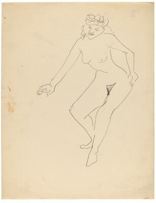 Seated Nude Leaning to Left, Torso Bent at Waist