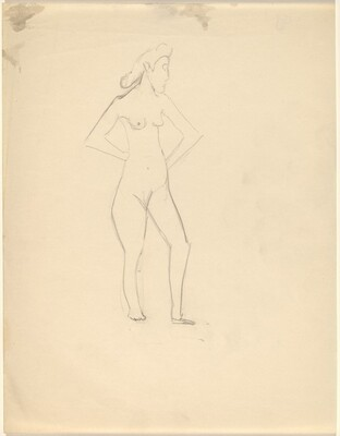 Standing Female Nude Turned to the Right, Hands on Hips
