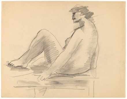 Seated Female Nude Turned to the Left, Left Leg Raised onto Bench
