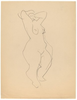 Standing Female Nude Turned to the Right, Arms Raised to Head