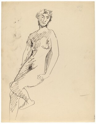 Standing Female Nude Turned to the Left, Head Turned to Viewer