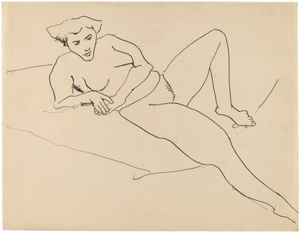 Reclining Nude Leaning to the Left, Right Arm Supporting Torso