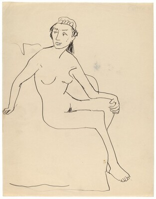 Seated Female Nude Turned to the Right, Head Turned to the Left