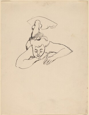 Nude Lying on Stomach, Head Raised to Viewer