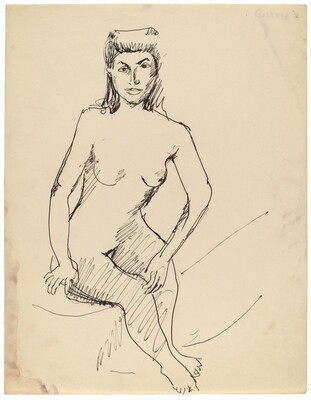 Seated Female Nude Facing Front, Left Hand Touching Right Knee