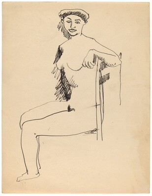 Seated Nude in Straight Back Chair