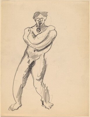 Nude Man, Standing with Arms Crossed and Raised to Shoulders