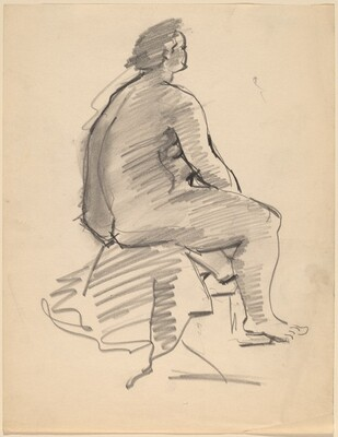 Large Seated Nude, Three-quarter View Facing Right, Seen from Behind