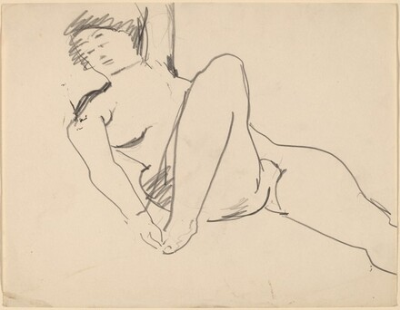 Nude Reclining to the Left, Right Hand Touching Foot