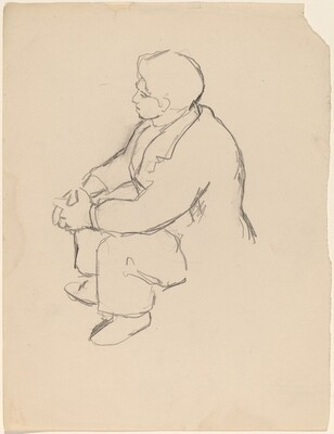 Seated man Seen from Above, Hands Folded