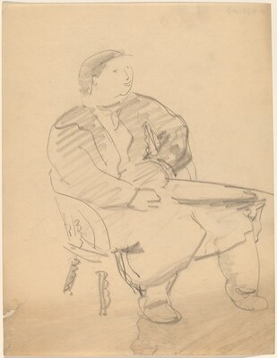 Seated Figure Turned Three-quarters to the Right, Hands on Lap
