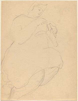 Seated Woman Seen from Below, Knitting [recto]