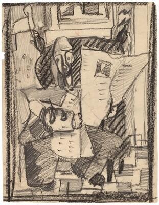 Stylized Study of a Figure Reading a Newspaper