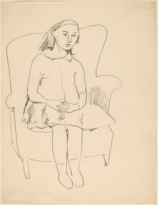 Young Girl Seated in Wing Chair, Hands Folded