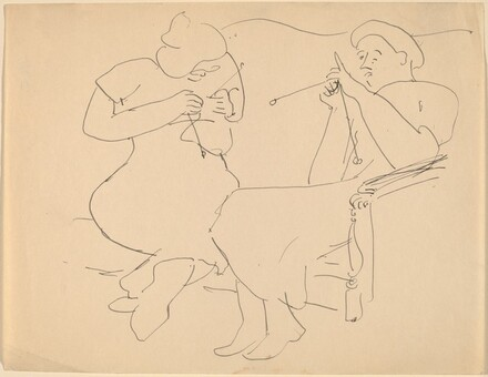 Two Women on Sofa, Knitting