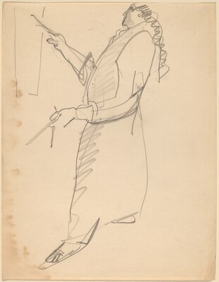 Woman in Long Robe, Painting