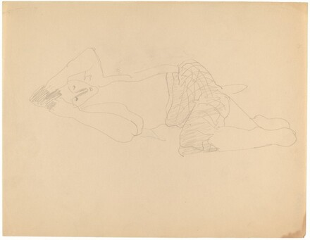 Woman Reclining to the Left, Hands Raised to Head