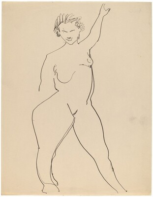 Frontal Nude, Left Arm Raised above Head