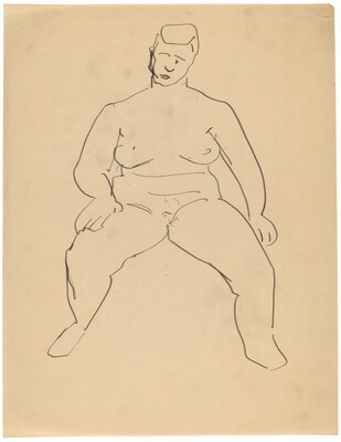 Frontal Nude Seated with Legs Apart