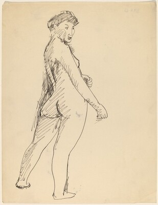 Standing Nude, Three-quarter View from the Back, Right Arm Extended
