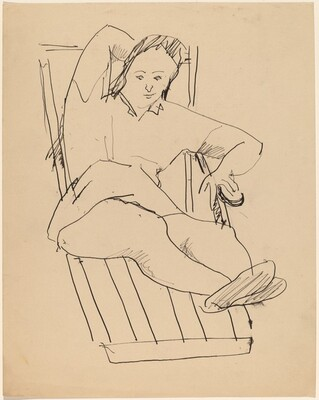 Woman Reclining on Slatted Lounge Chair