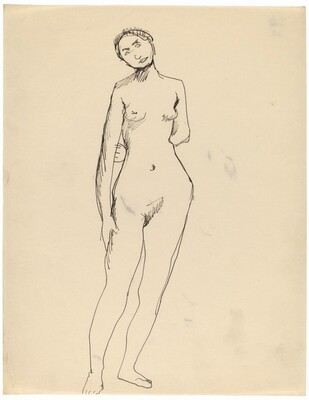 Frontal Nude Standing with Left Arm Behind Back, Head Tilted to the Left