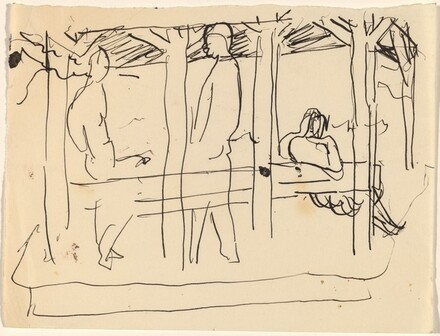 Three Figures under Cover Outdoors