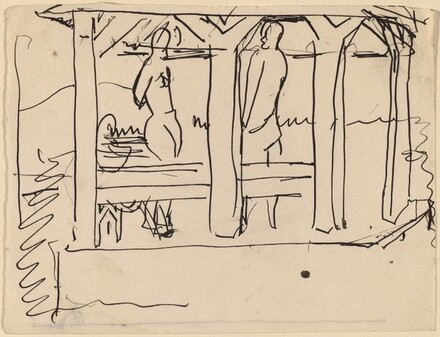 Two Figures Standing Underneath a Shelter [recto]
