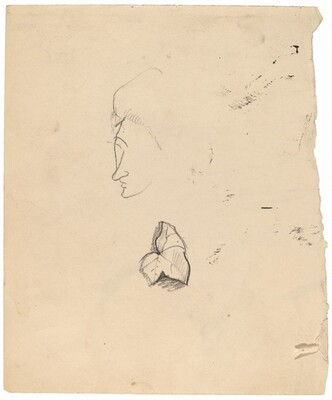 Sketch of a Woman's Face and a Leaf [recto]
