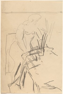Nude Standing before a Table, Plant to the Right