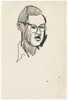 Head of a Male, with Mustache and Glasses