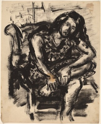 Long-haired Woman Seated with Left Leg Crossed and Hands on Ankle